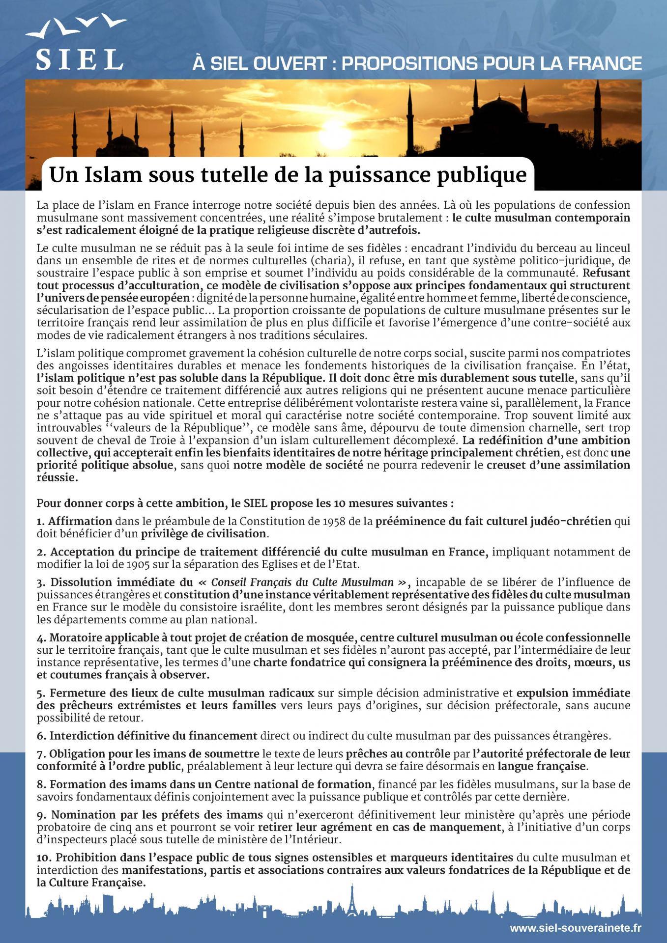 Un islam sous tutelle de la puissance publique